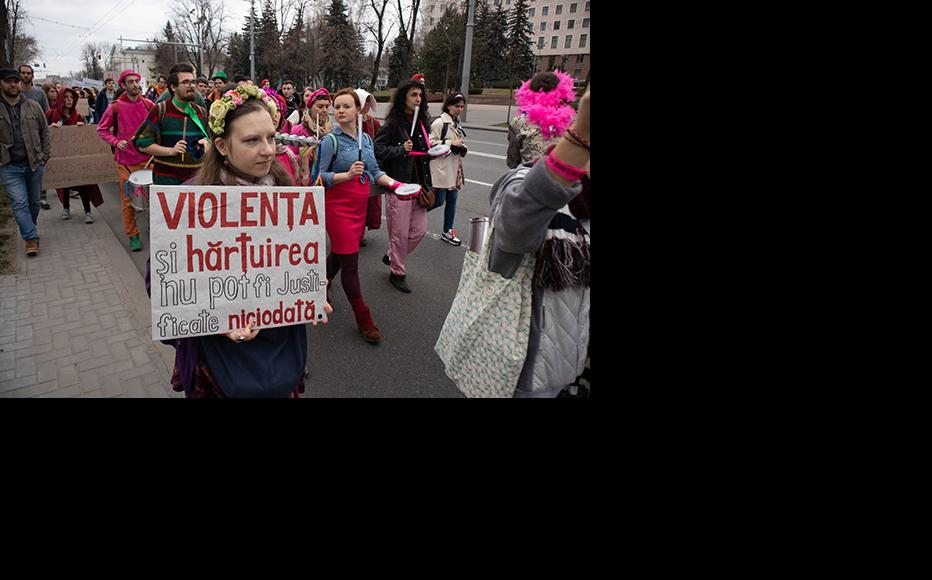 March protesting domestic violence, Chisinau 8 March, 2020.(Photo: Life without Violence in the Family)