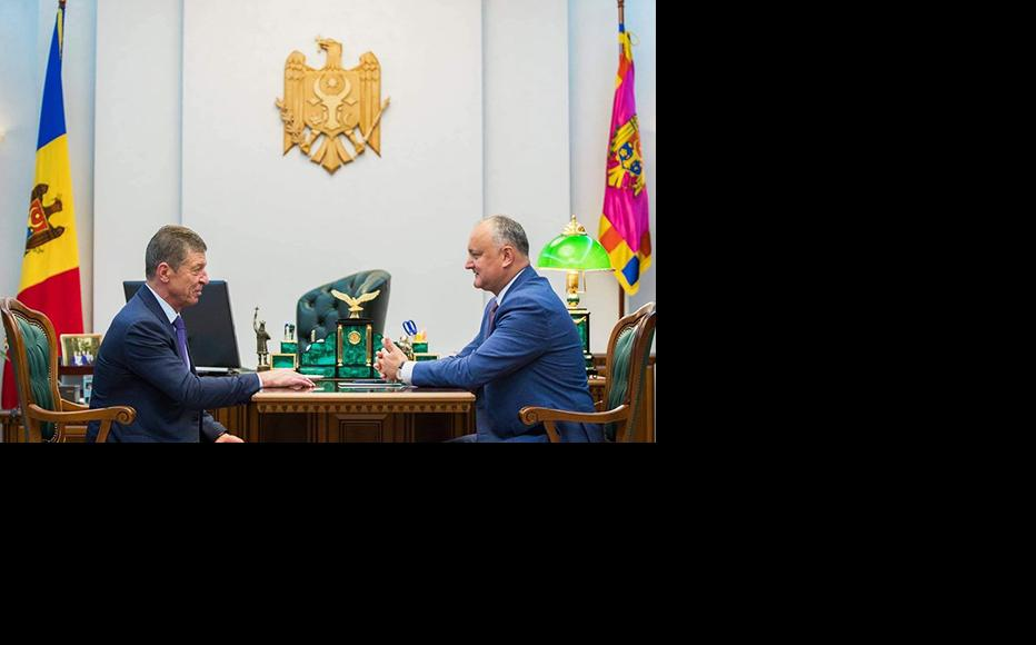 The incumbent president Igor Dodon in a meeting with Russian vice-president, Dmitry Kozak in 2019. (Photo courtesy of Igor Dodon's Facebook page)