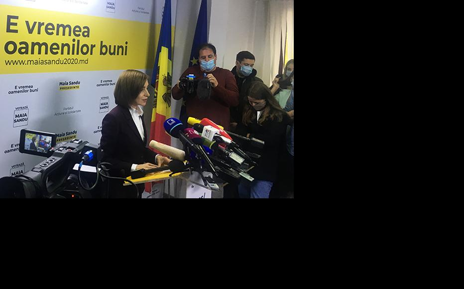 Maia Sandu in her press briefing as elected president at PAS Headquarters, November 16, 2020. (Photo: Madalin Necsutu)