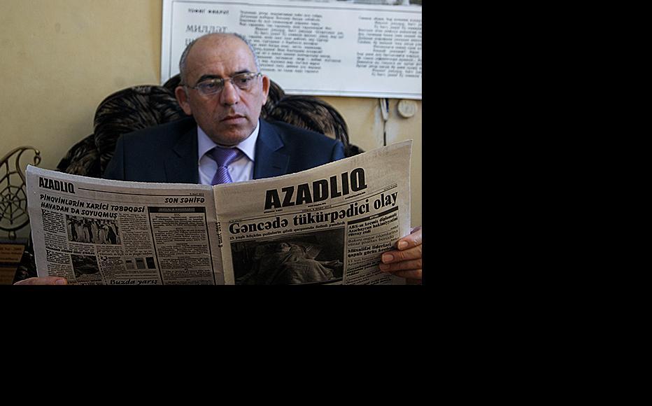 Rahim Hajiyev, editor-in-chief of Azadliq newspaper, pictured earlier this year. (Photo: Natiq Adilov)