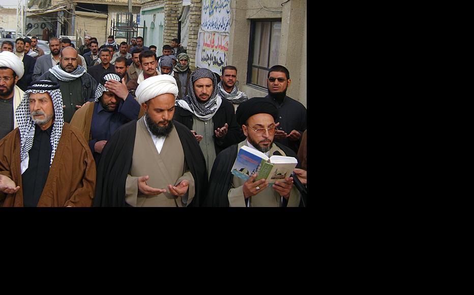 Followers of Shia cleric Mahmud al-Sarkhi gather after Friday prayers in Nasiriya, southern Iraq. (Iraqi photographer requested anonymity)