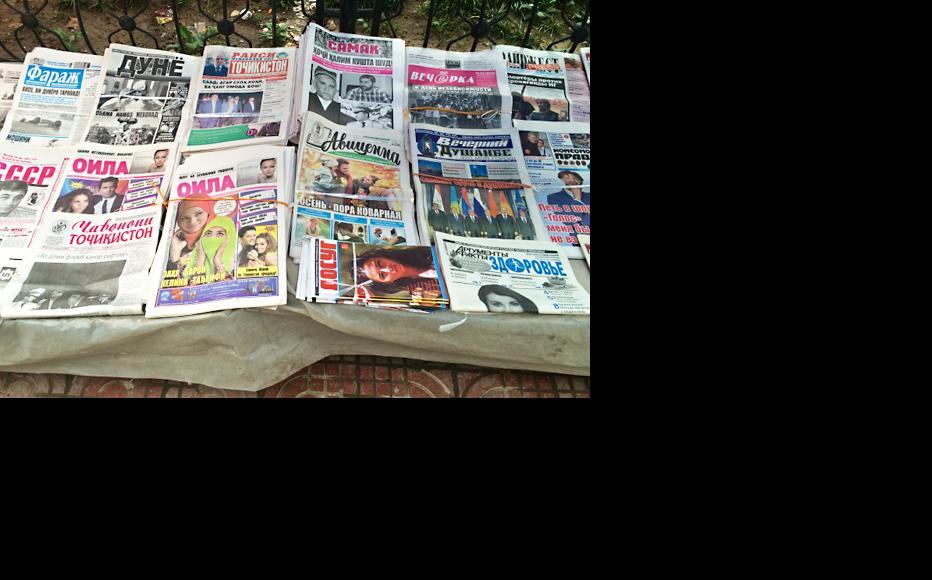 Newspaper stalls in Dushanbe. (Photo: Miriam Berger)