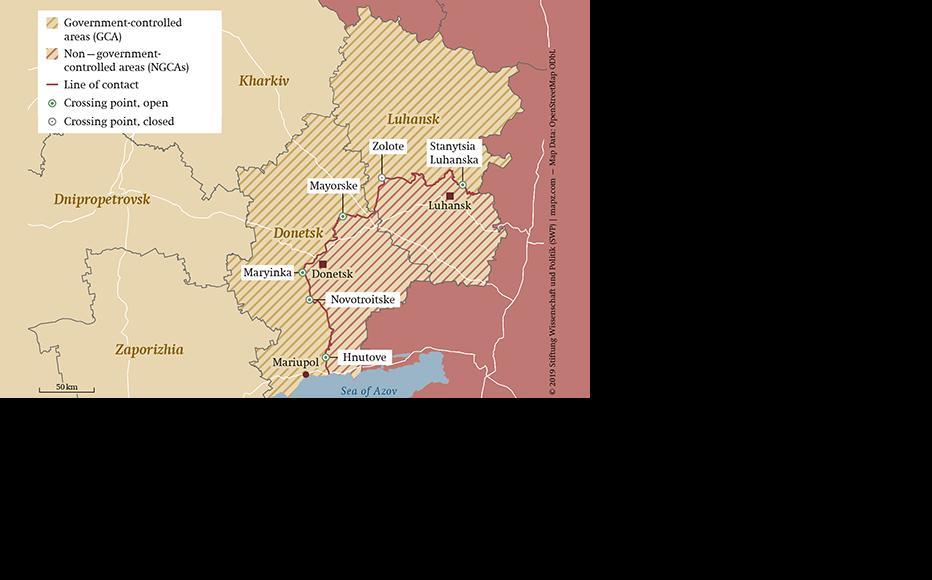 Eastern Ukraine. (Map: © 2019 Stiftung Wissedschaft und Politik)