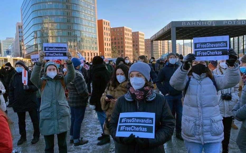 A protest in Berlin demanding the release of Ukrainian POW's.
