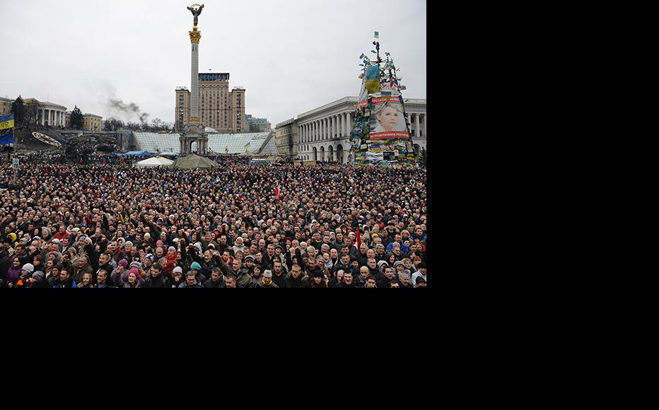 Anti-government demonstrators in Independence square February 22, 2014 in Kiev, Ukraine. (Photo: Jeff J Mitchell/Getty)
