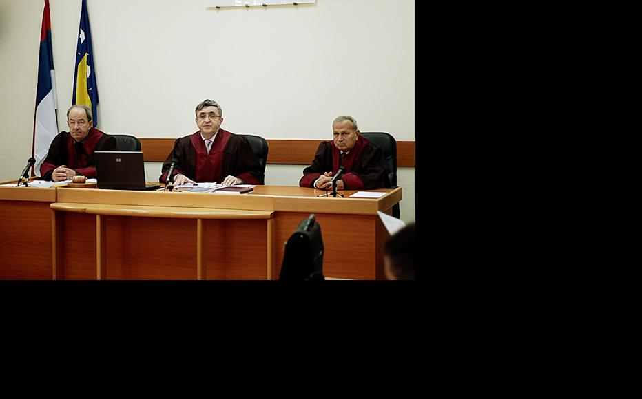 Courtroom in Trebinje at which protected witness Z.R. testified. (Still from Unprotected, film by IWPR directed and shot by Mirko Pincelli/Pinch Media)