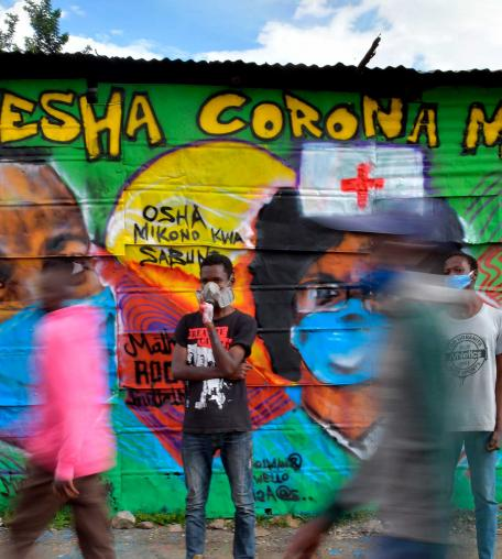 A mural advocating safety practices to curb the spread of Covid-19. April 29, 2020, Nairobi.