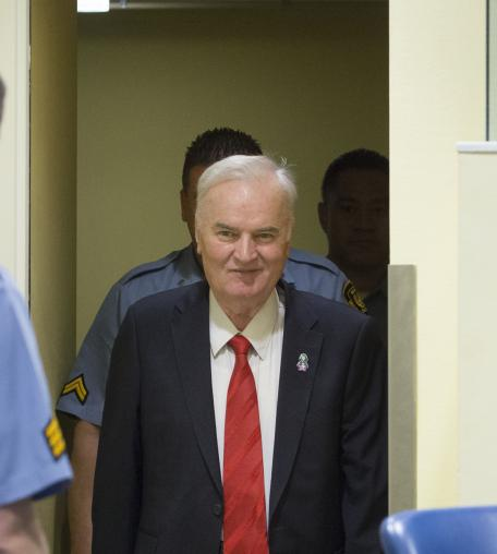 Former Bosnian military chief Ratko Mladic appears for the pronouncement of the Trial Judgement for the International Criminal Tribunal for the former Yugoslavia (ICTY) on November 22, 2017 in The Hague, The Netherlands.
