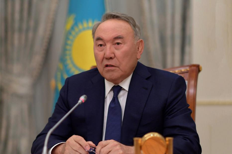 Nursultan Nazarbaev during his TV address announcing his resignation.