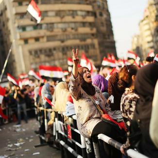 People attend a large rally in Tahrir Square against ousted Egyptian President Mohamed Morsi on July 7, 2013 in Cairo, Egypt.