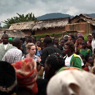 IWR reporters in DRC interviewing internally displaced people in October 2010.
