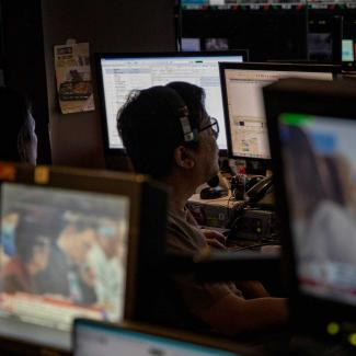 A scene from a TV studio in Quezon City, Philippines.