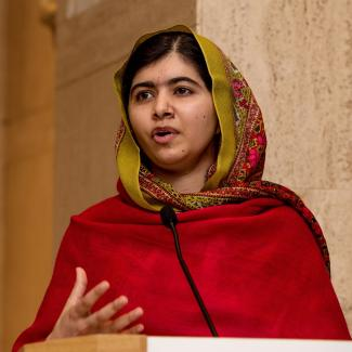 Malala Yousafzai gives a speech at an event at Barber Institute of Fine Art, November 2015 in Birmingham, England.