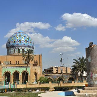 The remnants of a statue of Saddam Hussein, famously pulled down on April 9, 2003, have become one of Baghdad's landmarks. The statue stood in Firdos square in front of the14 July mosque. Firdos square has served as one of the primary locations for protests over a plethora of issues in recent years. (Photo: Hazim al-Sharaa/IWPR)