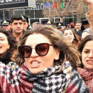 Narmin Shahmarzadeh, a psychologist and activist, at a women's rights rally in Azerbaijan.