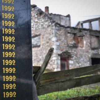 Monument to 24 civilians from Ledici killed in June 1992 at the start of the Bosnian war.