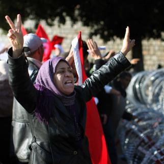 Protesters from Sidi Bouzid, the town where the Jasmine Revolution started and later led to the ousting of longtime president Zine El Abidine Ben Ali in January 2011.