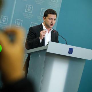 Ukrainian President Volodymyr Zelensky speaks to the media.