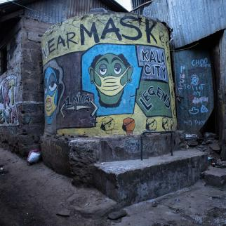 A mural depicting coronavirus on the streets in Kibera slums on March 29, 2021 in Nairobi Kenya.