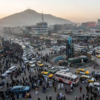 Traffic moves through the old city in Kabul, Afghanistan.