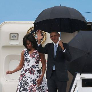 President Barack Obama arrives with his family for a 2 day visit on March 20, 2016 in Havana, Cuba.