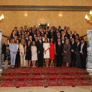 IWPR's Zaina Erhaim (front row, fifth from left) at Lancaster House at the Global Conference for Media Freedom in London, July 10 2019, with the Canadian Foreign Minister Chrystia Freeland (on her left) and UK Foreign Secretary Jeremy Hunt (centre) and Amal Clooney, UK envoy on media freedom.