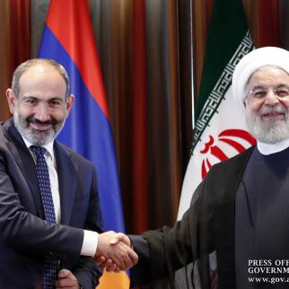 Nikol Pashinyan, prime minster of Armenia and Hassan Rouhani, the president of Iran.
