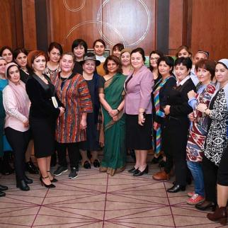Participants of the National Forum in Tajikistan, dedicated to women entrepreneurship in the country.