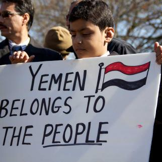 A protest in support of Yemen.