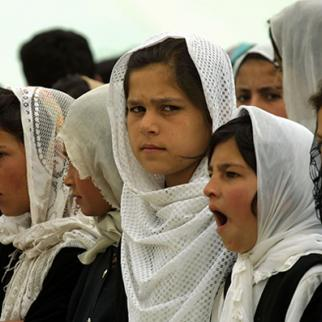 Afghan students in the Khost province are being forced to attend government-organised demonstrations and ceremonies. (Photo: Natalie Behring-Chisholm/Getty Images)