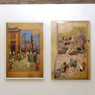 Medieval Herati miniatures displayed in the exhibition. (Photo: Sodaba Ahrari)