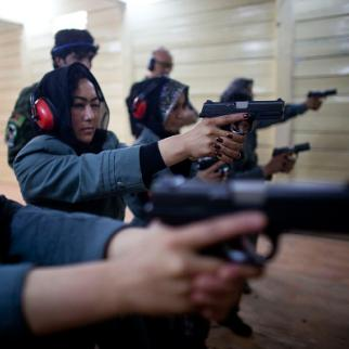 Afghan women undergo training at the Afghan Police Academy. (Photo: Majid Saeedi/Getty Images)