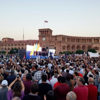 Rally led by Nikol Pashinyan at the Republic Square in Yerevan, Armenia. 17 June 2021.