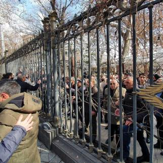 Pashinyan's protestors in a verbal clash with those against him at a rally in early March.