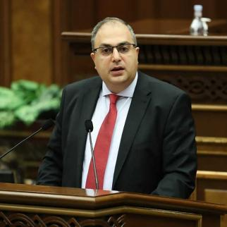 Vladimir Vardanyan, the lawmaker who co-authored the new law, makes a case for it during the July 30 session that ratified it.