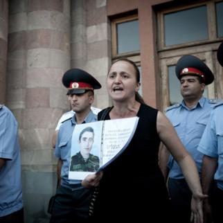 Bereaved mother Nana Muradyan campaigns for justice for her son. (Photo courtesy of N. Muradyan)