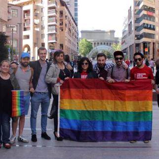 Activists of the PINK Armenia NGO raised the LGBT flag in the centre of Yerevan on the International Day against Homophobia, Transphobia and Biphobia. May, 2015. (Photo: Pink Armenia NGO)