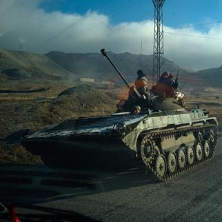 Armenian tanks leave Nagorno-Karabakh following the end of the war with Azerbaijan on November 12, 2020 in Vardenis, Armenia. (Photo: Alex McBride/Getty Images)