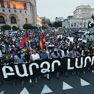 Demonstration in Yerevan against the electricity price hike. This is an early one on May 27, 2015. (Photo: Photolur agency)