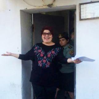Khadija Ismayilova leaves prison on May 25. (Photo: Elmira Rahim)