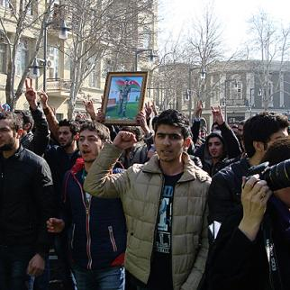 March 10 demonstration against conscript deaths in Azerbaijan. (Photo: Aliya Haqverdi)