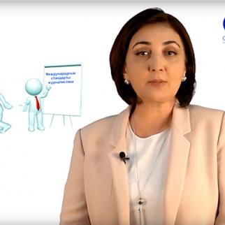 IWPR's Tajikistan editor Lola Olimova appears in a video lesson on how to apply international standards in journalism. (Video by CABAR.asia)