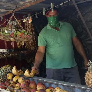 Maikel López has a small fruit and food stall that supplies neighborhoods in Camagüey, Cuba. The stall allows residents not to have to go to crowded state markets.