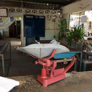 An empty food marked in Holguin, Cuba.