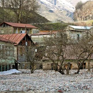 A powerful flood in April 2010 left several families in village of Mleta (Dusheti district) without a home. Officials say they can't provide new houses for flood victims at the moment and suggest that they stay in a school building in a neighbouring village. (Photo: Giorgi Kupatadze)