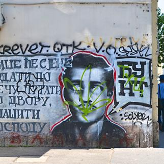 Graffiti image of Gavrilo Princip on a street named after him in Belgrade. (Photo: Benjamin Beasley-Murray)