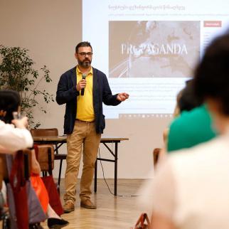 IWPR's Caucasus programme director Beka Bajelidze at the launch event for Newsrooms Countering Disinformation film held in Tbilisi.