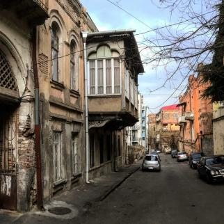 A street in the Sololaki District of Tbilisi, one of the most popular areas for tourists visiting Georgia.