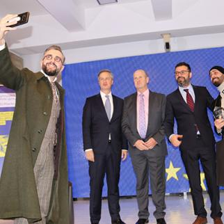 Zurab Balanchivadze (left), one of two finalists of the Special Prize for Peace Journalism at the awards ceremony on January 29, 2019 together with (l to r) Erik Høeg, Head of the EUMM in Georgia, Des Doyle, Head of Press and Public Information office at EUMM, Beka Bajelidze, IWPR Caucasus Regional Director and Nika Gablishvili, the 2018 Prize winner. (Photo courtesy of EUMM)
