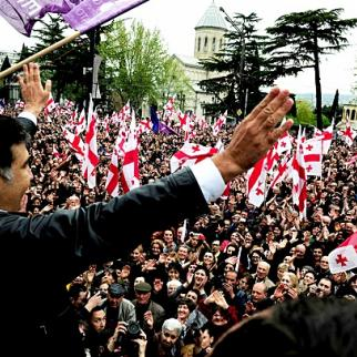 Georgian president Mikheil Saakashvili greets supports at an April 19 rally. (Photo: President's official Facebook page)
